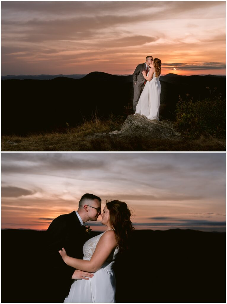 Nighttime sunset portraits on top of Black Balsam for their elopement.