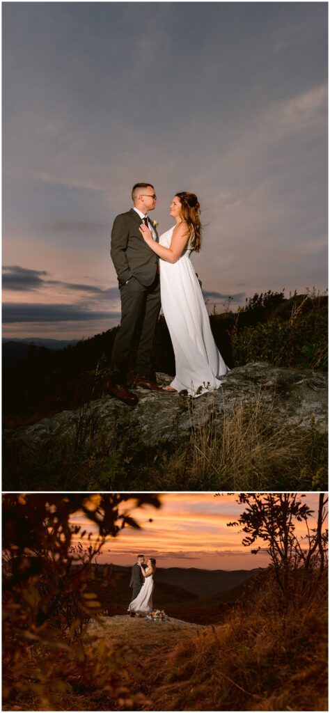 Sunset elopement photos on the rocks at Black Balsam with colorful skies.