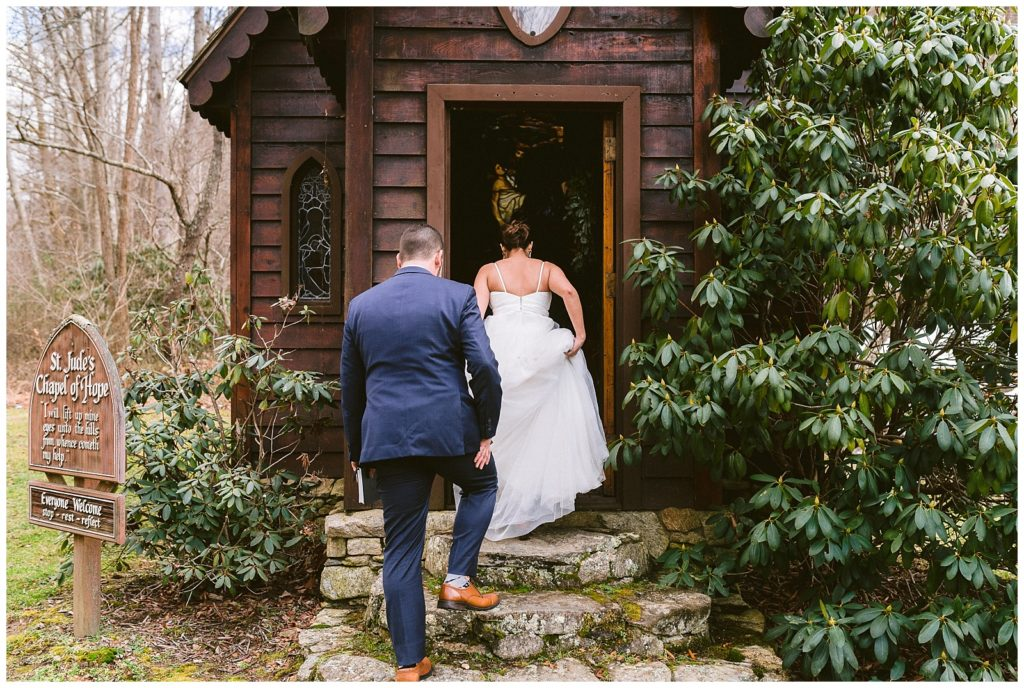 A bride and groom enter the chapel for their elopement ceremony.