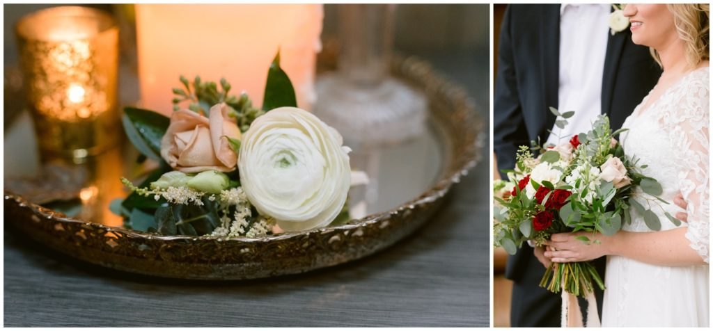 The groom's boutonnière sitting on a gold tray, and an image of the bride's fall bouquet.