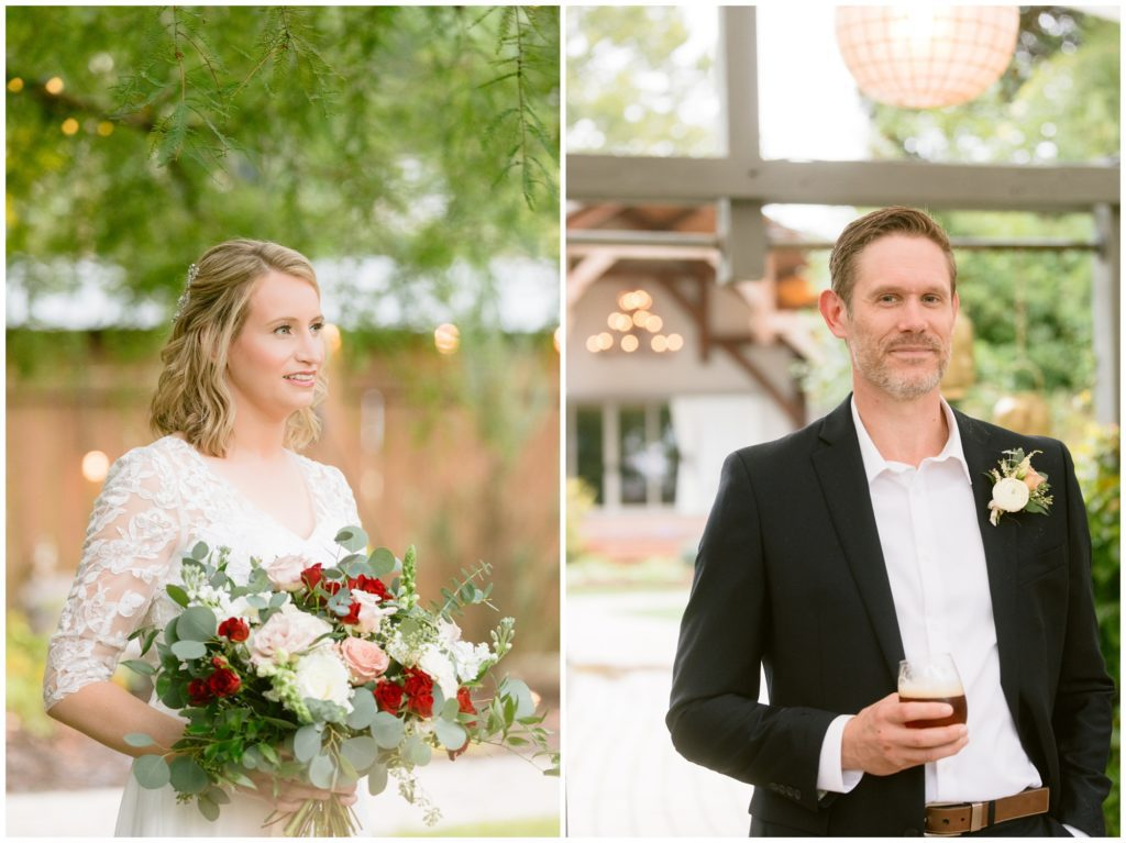 Individual portraits of the bride and groom with their custom florals designed by Petal and Fern in Asheville.