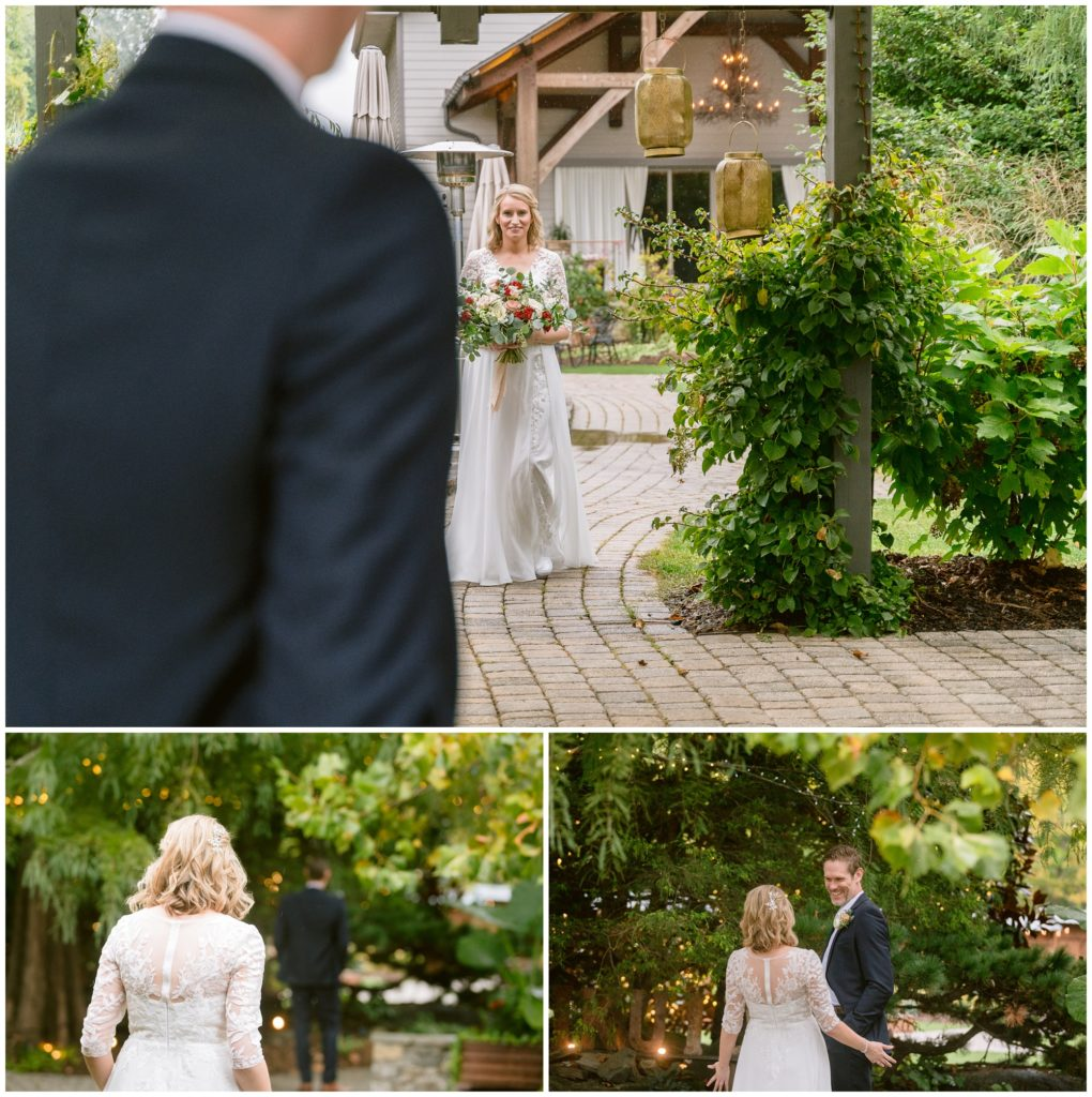 The bride and groom share a private first look before their elopement ceremony.