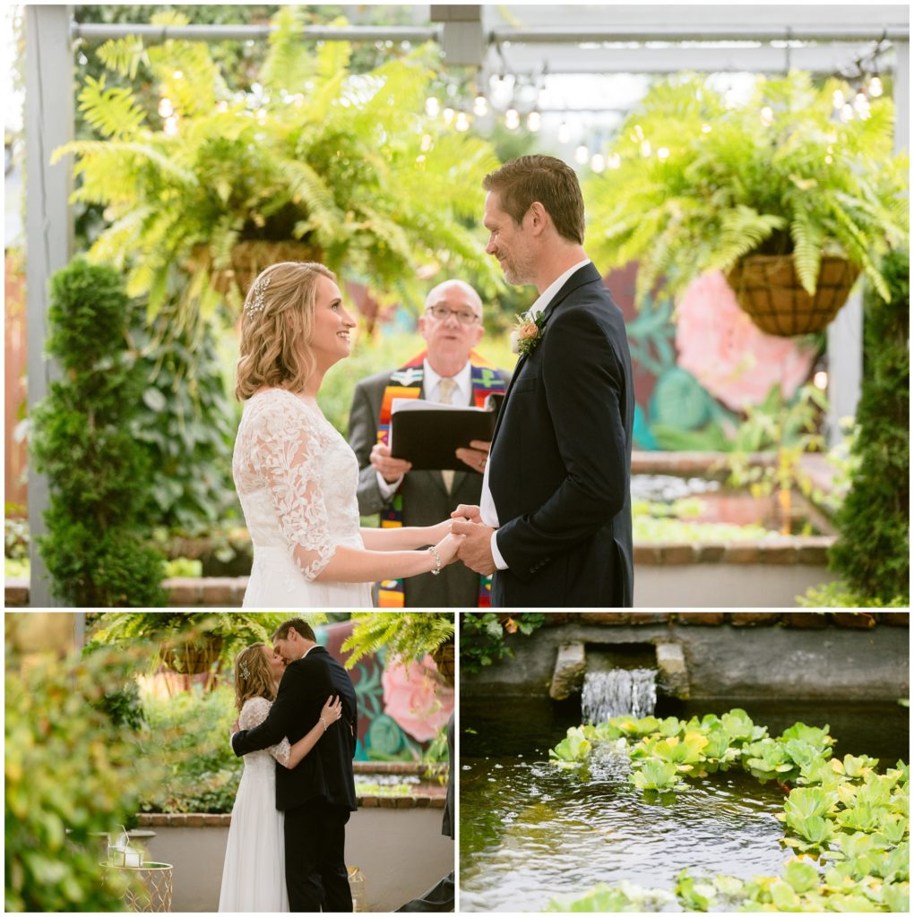 Zen garden and chapel Haiku I Do elopement ceremony with pond of lily pads.