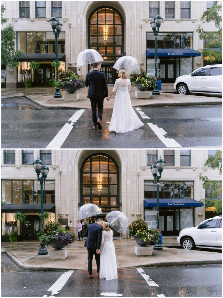 Downtown Asheville bride and groom portraits in the rain after their elopement.