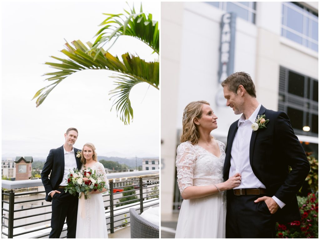 Rainy elopement day in downtown Asheville on a rooftop.