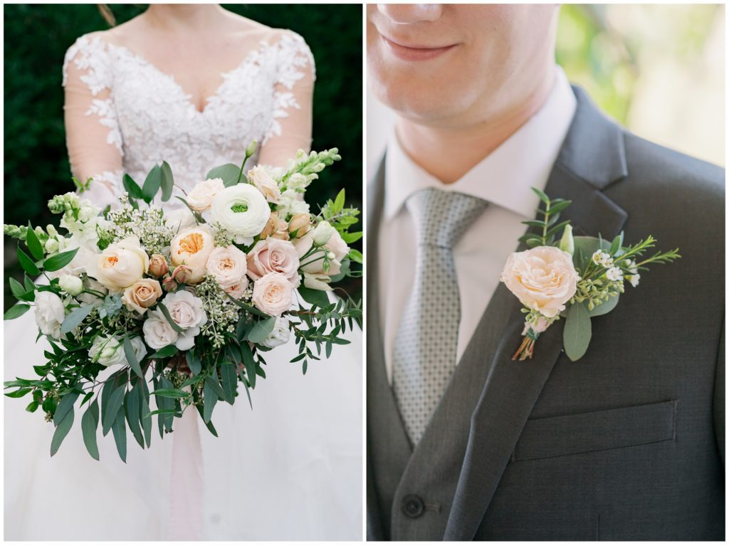 Beautiful light pink and greenery florals for this Asheville elopement.