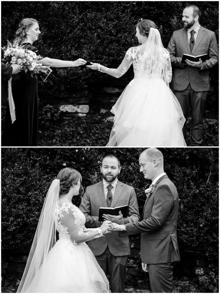 Black and white elopement ceremony photos of exchanging rings.