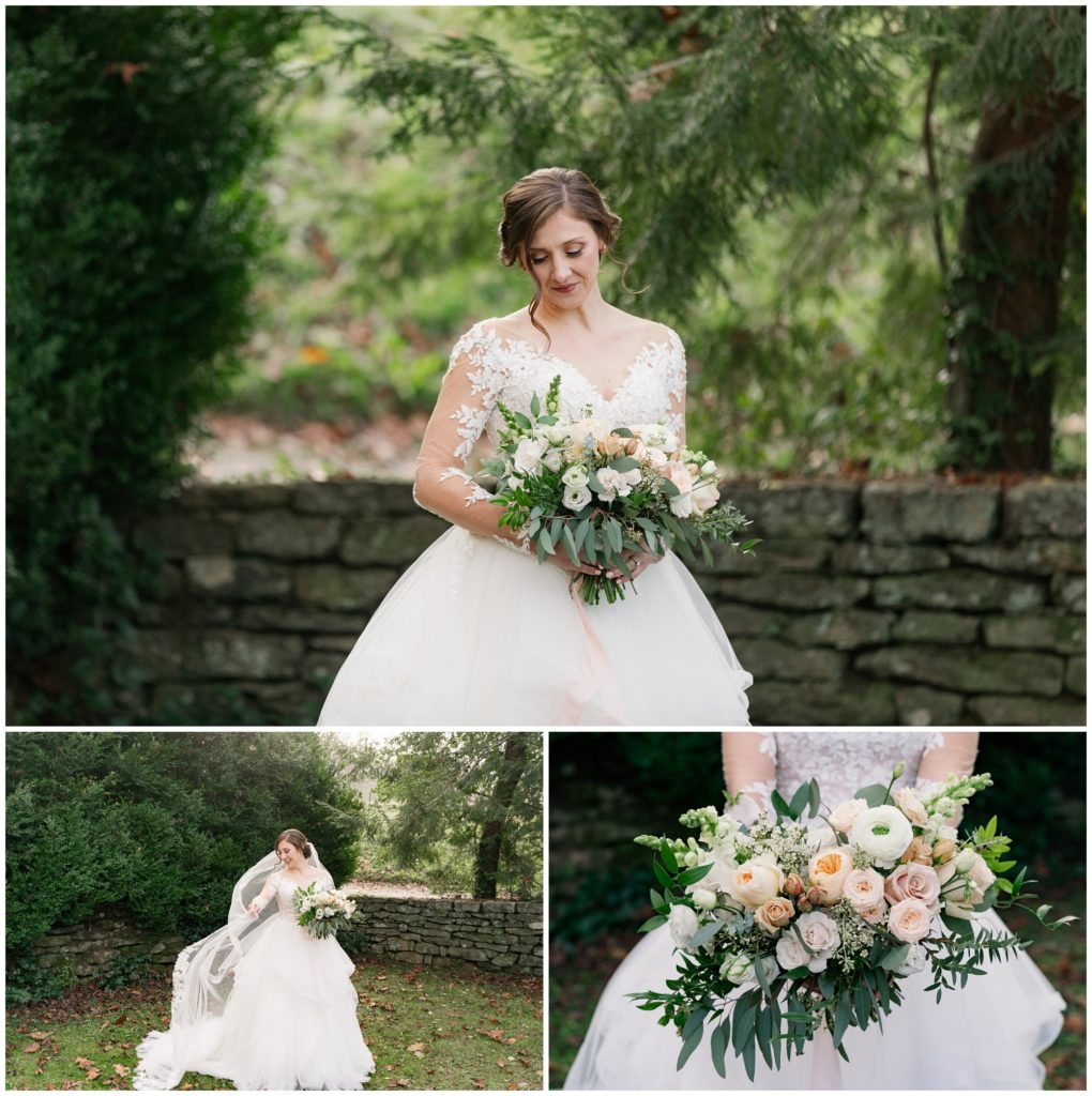 Bridal portraits at Sherrill's Inn with lush pink and white florals.