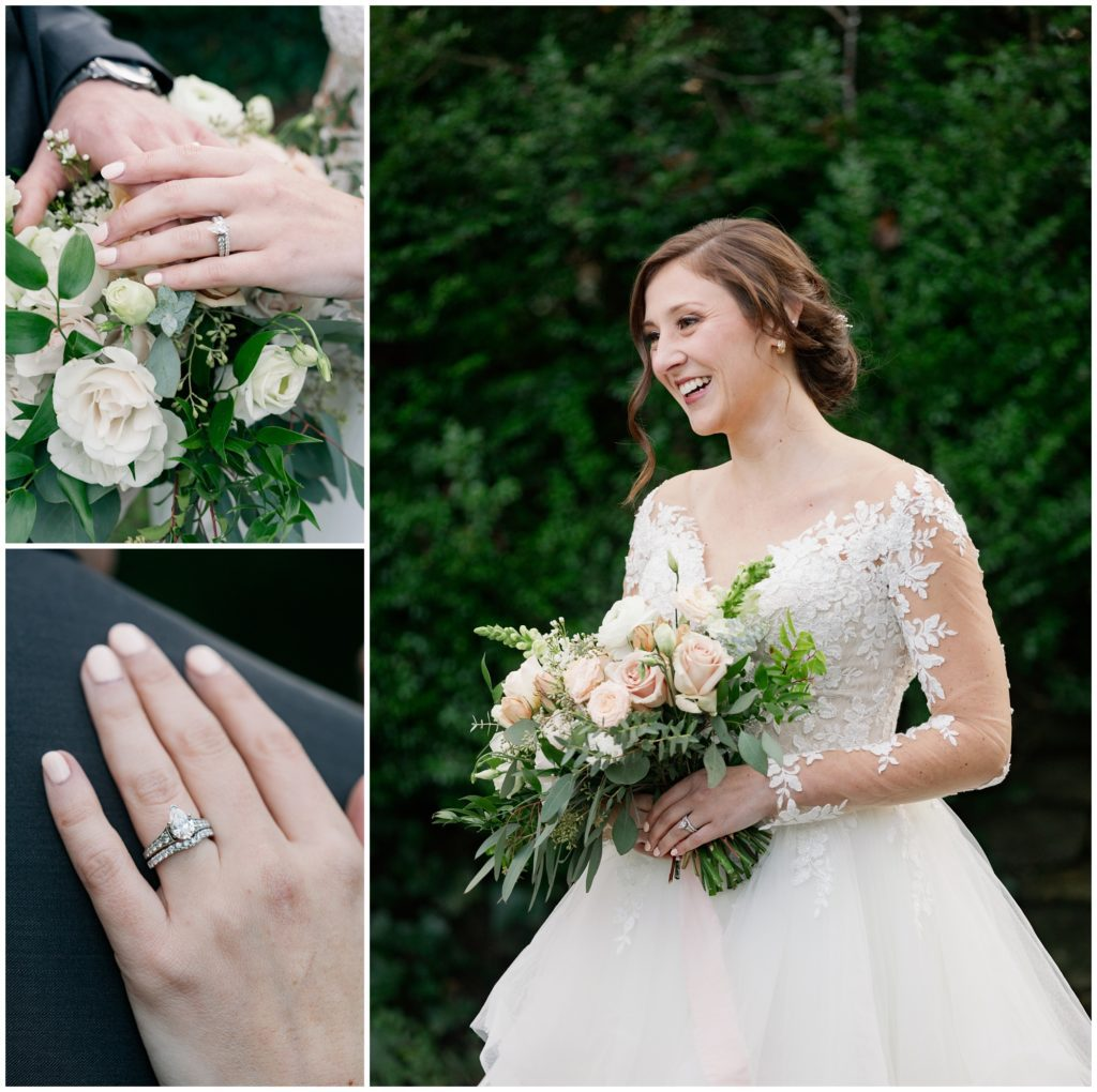 Images of the wedding rings and a bridal portrait.