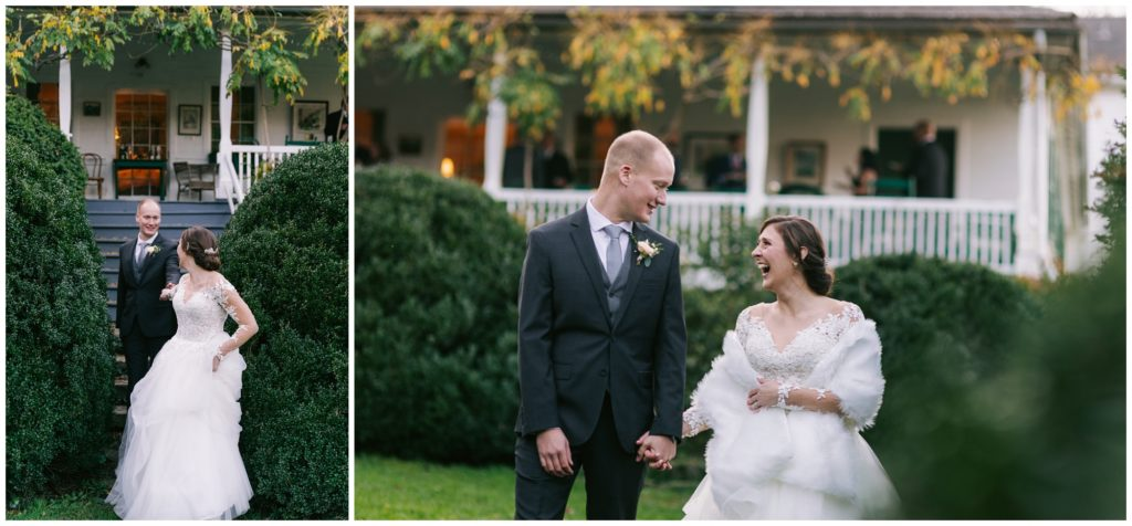 Bride and groom portraits walking together on the lawn at Sherrill's Inn.