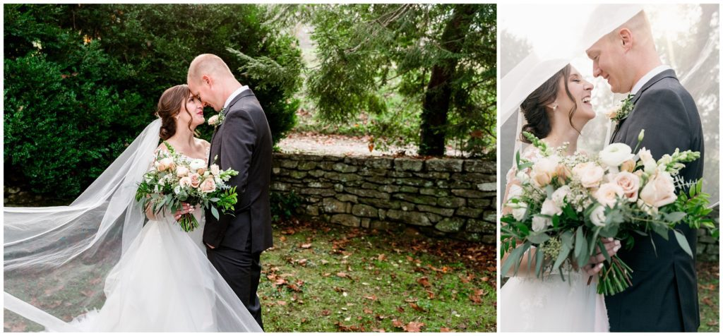 Bride and groom portraits with a long flowy veil.