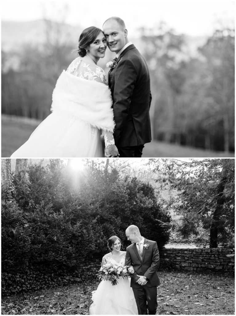 Black and white bride and groom portraits at Sherrill's Inn.