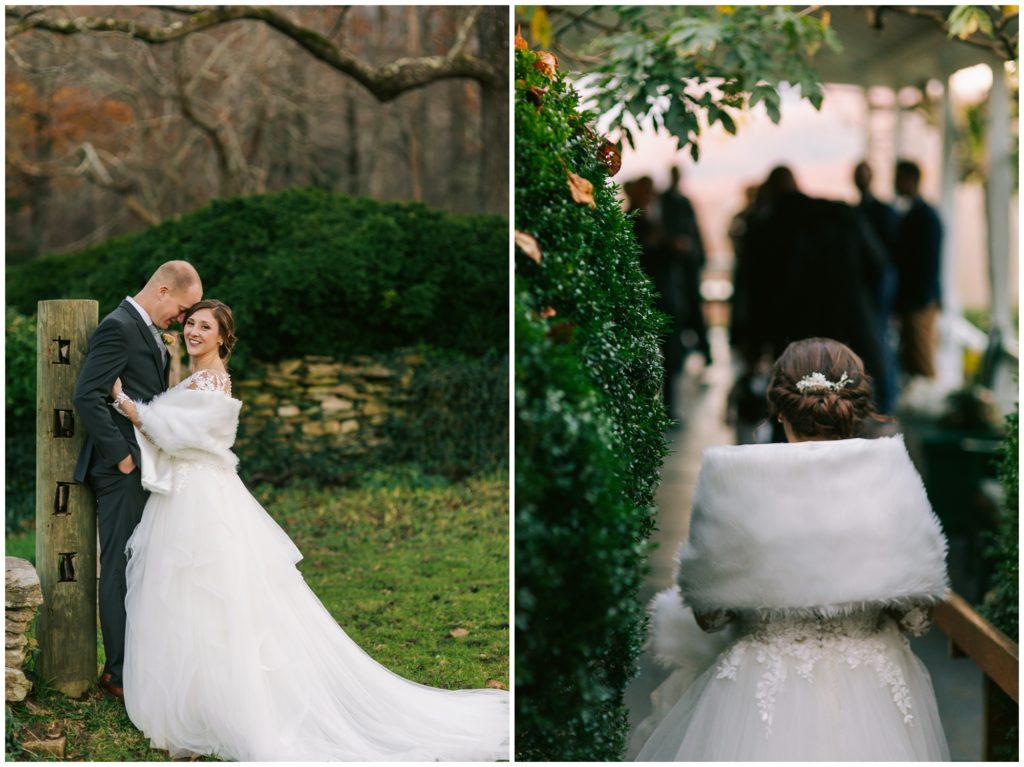 Bride and groom at Sherrill's Inn in the fall.