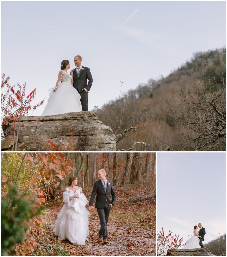 Fall bride and groom portraits at the mountains in Asheville.