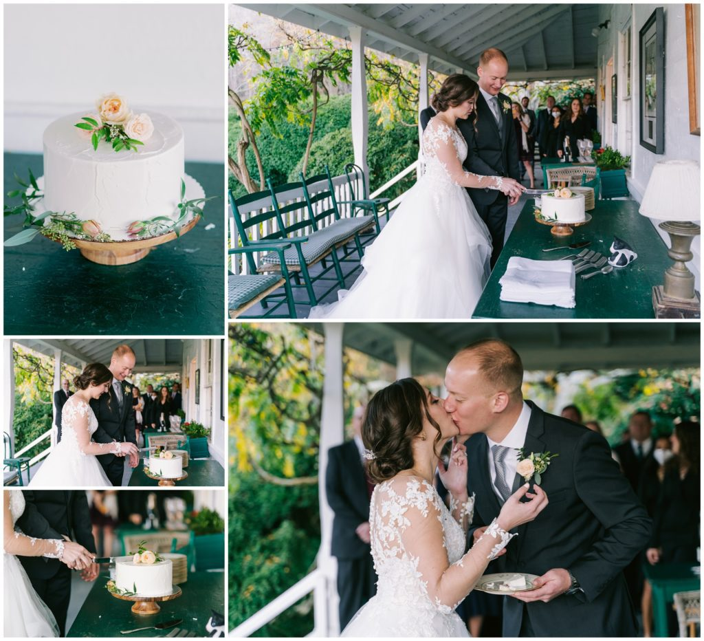 The bride and groom cut their cake together at Sherrill's Inn wedding venue.