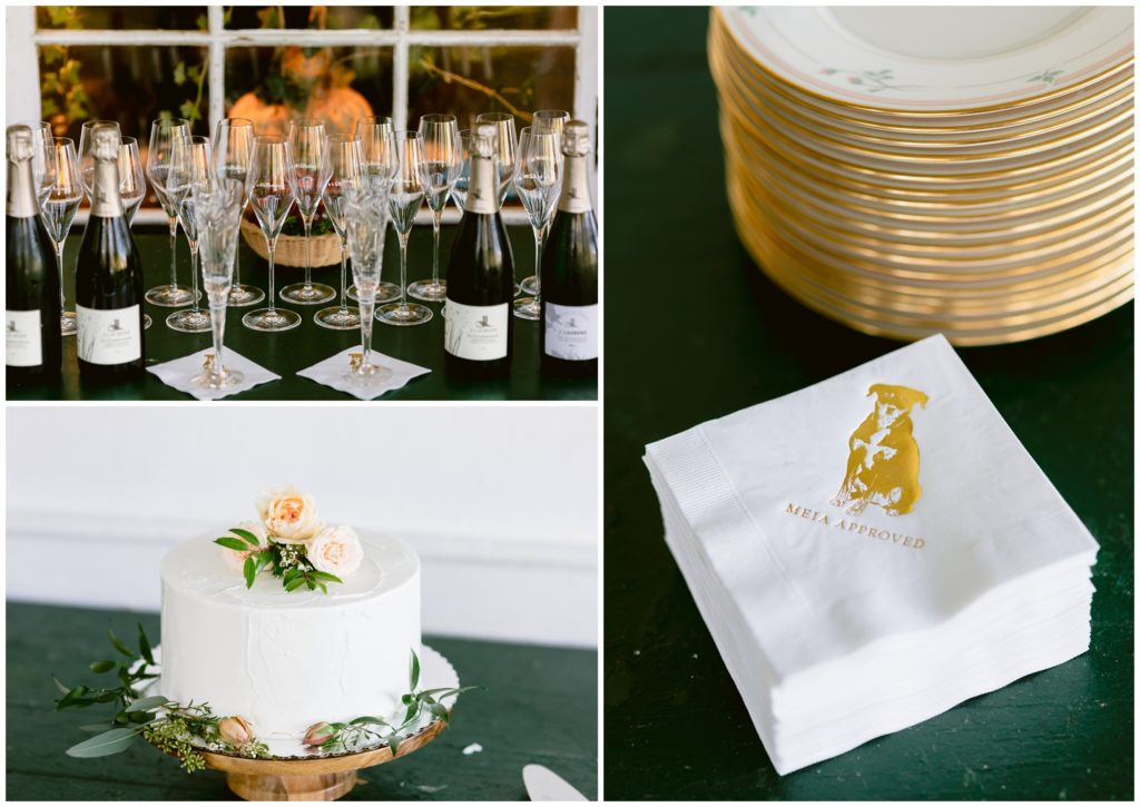 """A champagne toast awaited their guests, along with custom napkins of their dog saying """"Meia Approved"""""""