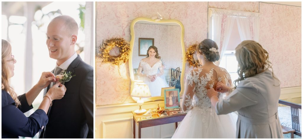 Images of the bride and groom getting ready for their elopement ceremony.