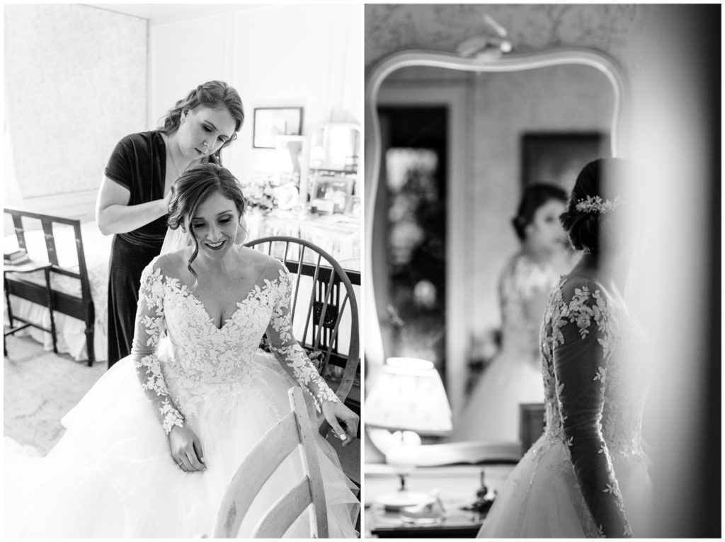 Black and white images of the bride getting ready at Sherrill's inn.