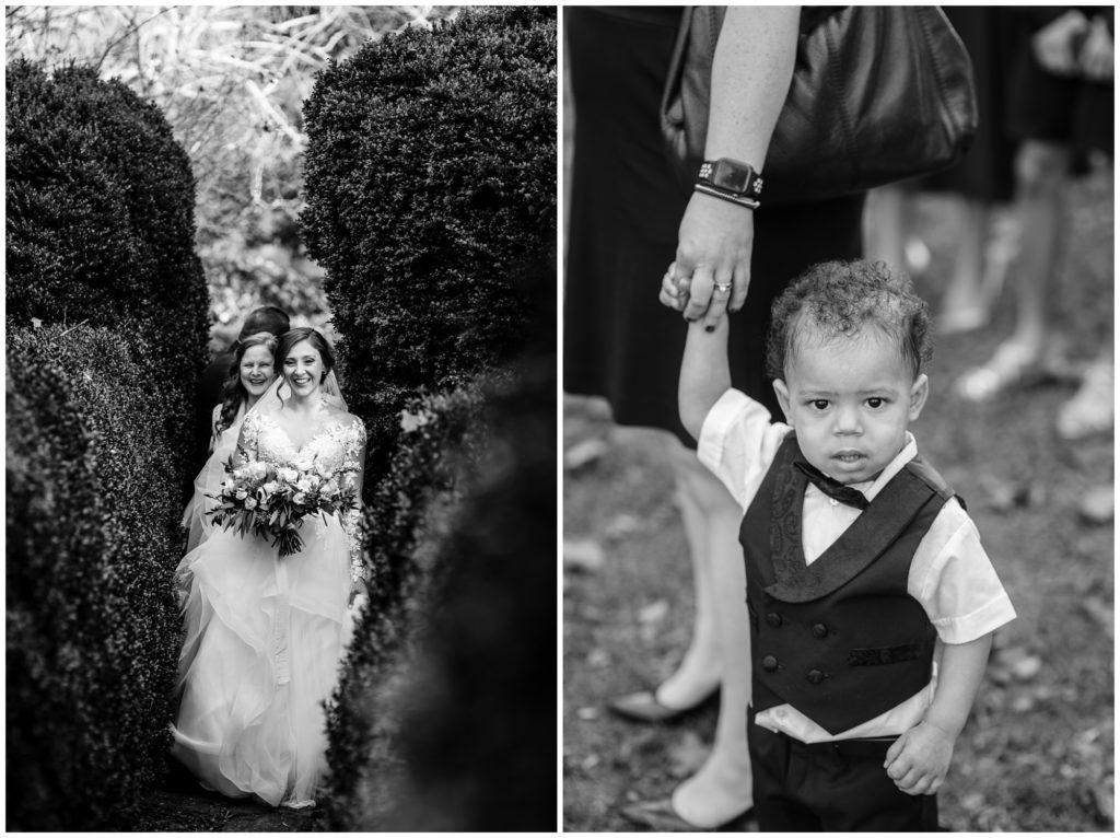 The bride walks down the garden path to her elopement.