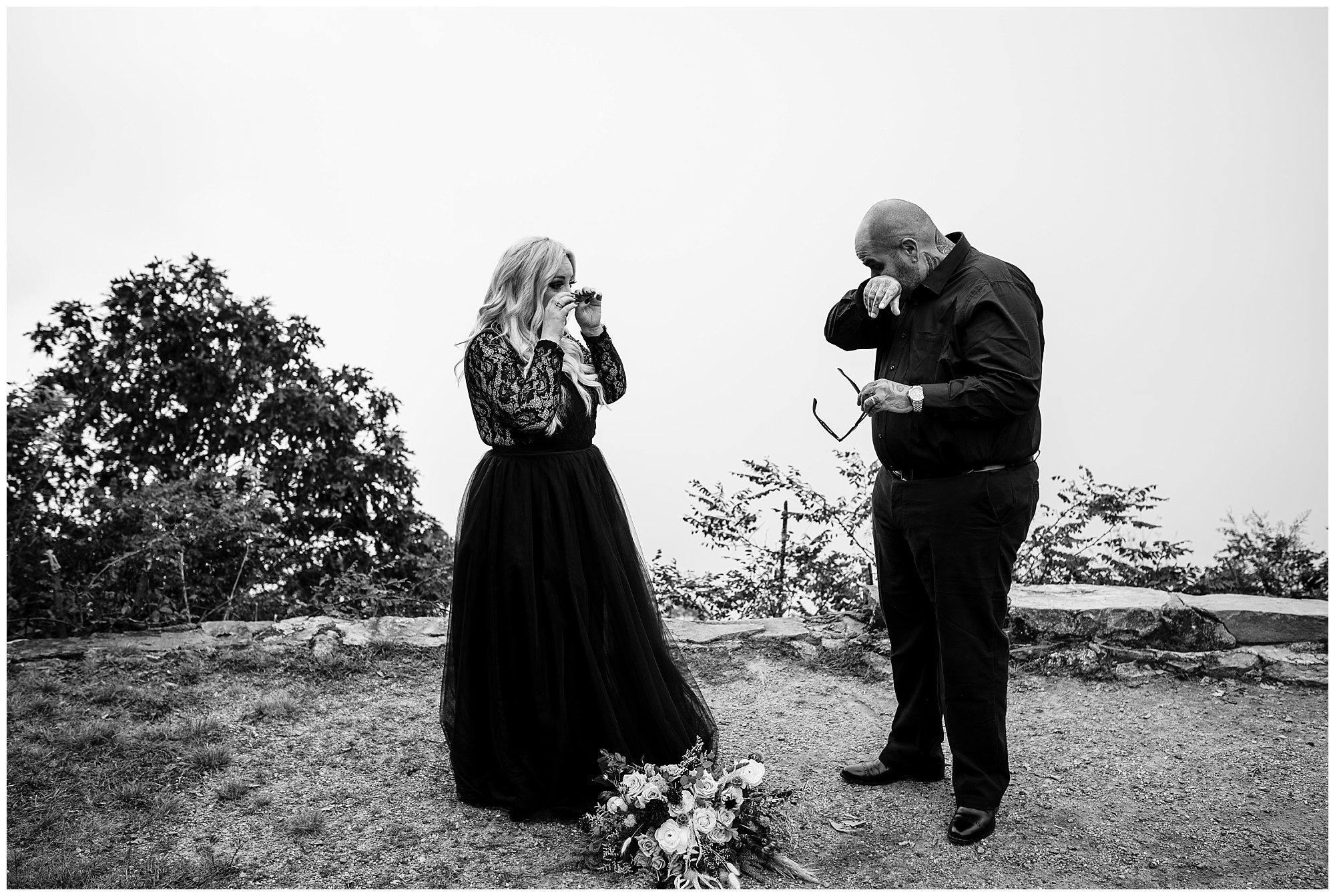 Emotional couple after exchanging vows during their elopement