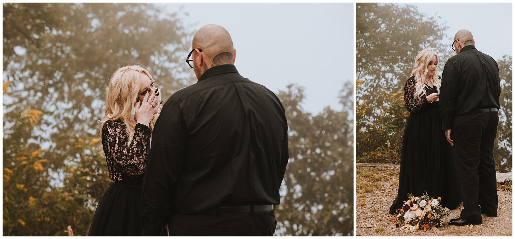 Mountain Top vow exchange with the couple only at elopement