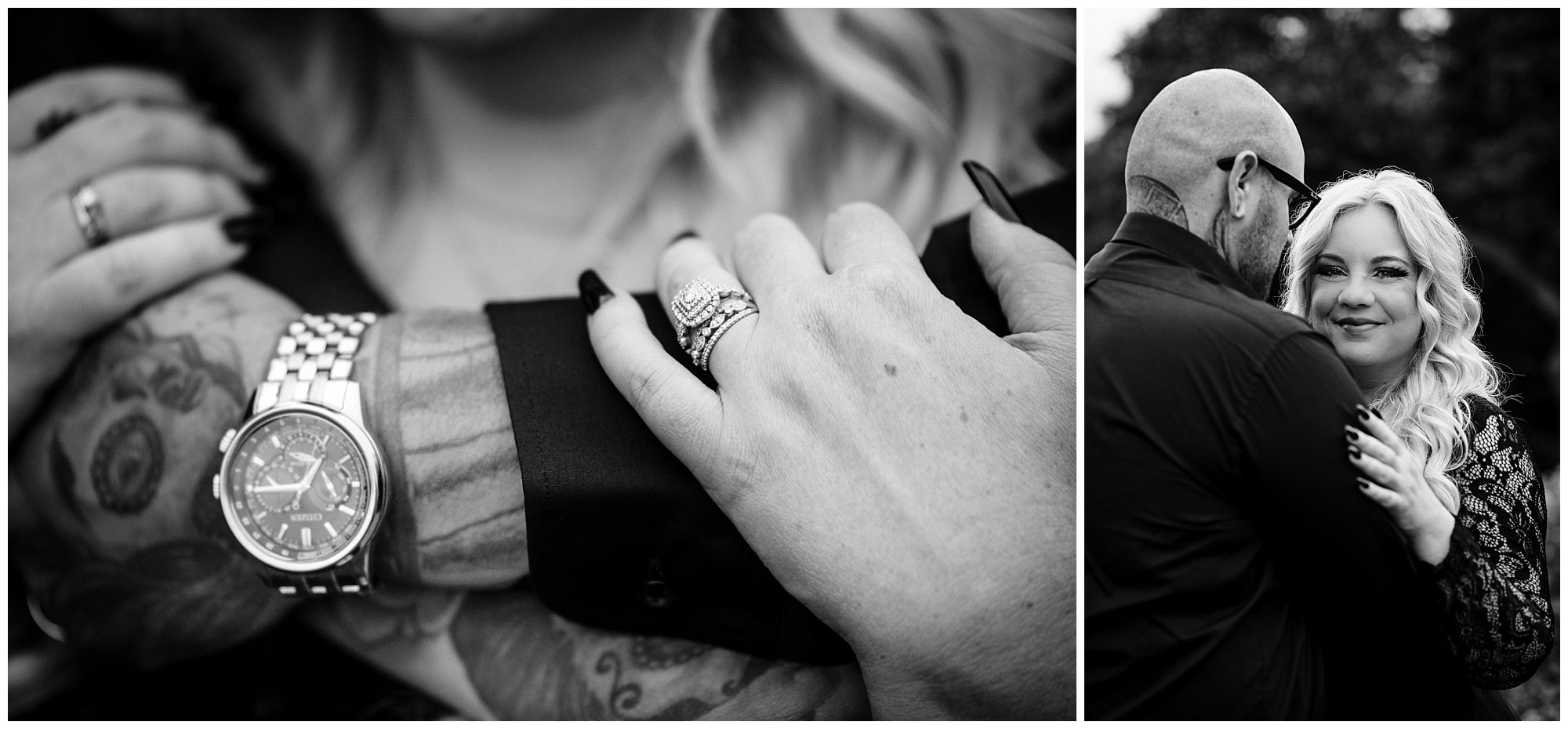 Black and white photo of couple After elopement